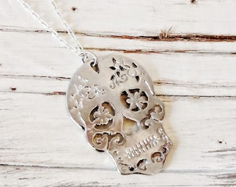 Sugar Skull Day of the Dead Silver Necklace