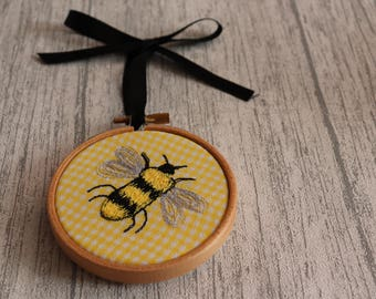 Yellow Decor, Bee Gift, Bee Decor, Bumble Bee, Bee Nursery Decor, Insect Wall Art, Yellow Wall Art, Embroidery Hoop, Embroidery Art