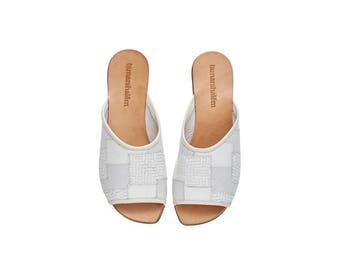 White leather sandals, Helena, handmade flat sandals