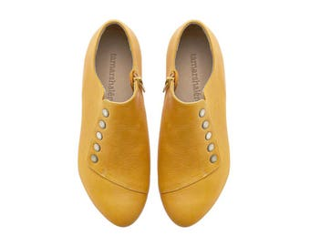 Yellow leather shoes, Grace, handmade flats