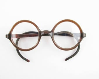 Retro Fun 1940s Brown Plastic Eyeglasses - Wrap-around Earpieces - Brown Tortoiseshell Frames - Wear Them - Vintage Eye Glasses - Spectacles