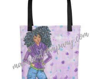 "Purple ""Bow"" Tote Bag"