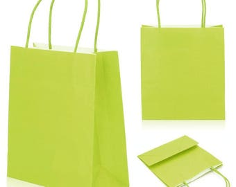 Lot 5 bags bags Green Paper 8 x 18 x 22 cm with cuffs