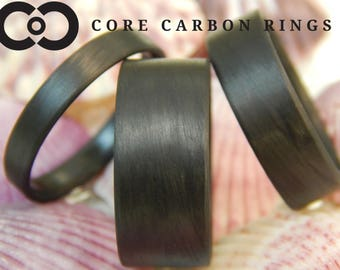Carbon Fiber Unidirectional Black Wedding Ring