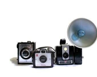 Lot of 3 Vintage Cameras Kodak Brownie Hawkeye Holiday and Tower