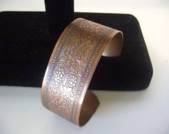 Copper Cuff Bracelet - Tarnished Copper Jewelry - Woman's Patina Copper Wide Bracelet