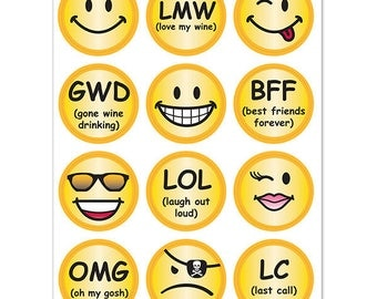 Emoji Smiley Face Wine Glass Decals, 1 Inch Round Glass Tags, Glass Charms, Hostess Gift, Glass Not included, 12 Per Pack