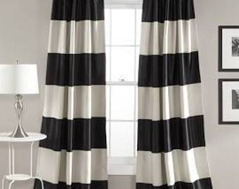 Summer Sale 20%off  Cabana Black And White Stripe Curtains, Black Cabana  Curtains