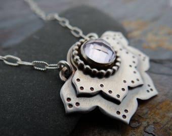 Pink Amethyst Lotus Flower Pendant // sterling silver flower // modern zen jewelry // yoga inspired metal smith pendant (4479)