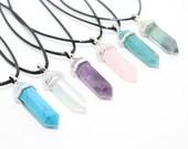 Crystal Point Necklace, Choker Necklace, Crystal Choker, Amethyst Necklace, Rose Quartz Necklace, Turquoise, Fluorite, Boho Jewellery