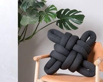 Dark Grey Knot pillow , Knot Pillows, knot cushions,  Dark Grey modern pillow, nursery decor, Dark Grey cushion, Dark Grey throw pillow