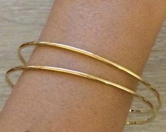 Gold Bangles, Thin Bangles, Gold Bracelets, Gold Bangles, Bridesmaid Gift, Set of 2