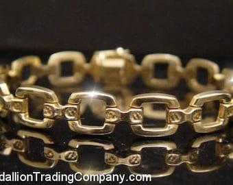 14K Yellow Gold Square Stampato Fancy 10mm Link 7.5 Inch Bracelet 11.1 Grams