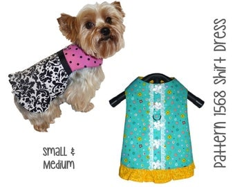 Dog Shirt Dress Pattern 1568 * Small & Medium * Dog Clothes Sewing Pattern * Dog Harness Dress * Dog Shirt * Little Dog Dress * Dog Clothes