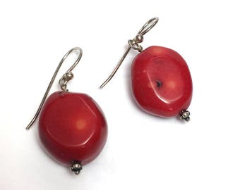 Red Coral Earrings Silver Beaded Earrings Large Coral Nuggets Dangles Wires Red Jewelry