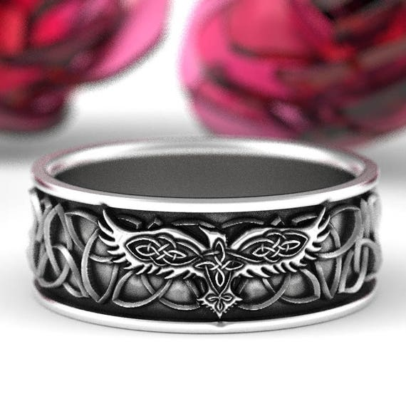 Sterling Silver Celtic Raven Ring, Raven Wedding Band, Mens Wedding Band, Irish Wedding, Celtic Raven Trinity Knot Ring, Custom Size 1171