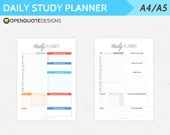 A5 Daily Study Planner, Student Organizer, Printable Planner Inserts A5, College Planner, A4 Planner Printable, A4 Daily Planner