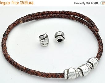 30% OFF Wrapped-style Distressed Beads - Sterling Silver Plated Beads - Zamak - 6MM Hole - Qty.5