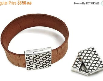 30% OFF Rhombus Inspired Magnetic Clasp - Antique Silver - Strong Magnet - Qty. 1