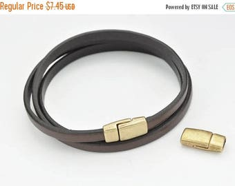 HOT DEALS 5MM Flat Leather Clasp - Antique Brass - Magnetic Clasp - High Quality Metal Casting