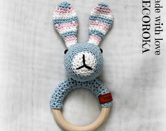Crochet Bunny rattle handmade to order.