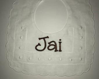 Unisex Personalized White Swiss Dot Linen Baby Bib