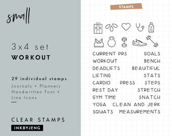 STMP-3X4-009 Workout | 3x4 | Planner and Journal Clear Stamp Kit | Health and Fitness