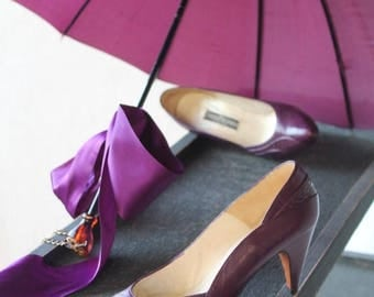 Sexy Summer Sale Posh Purple Eggplant Leather and Snakeskin Scalloped Pump Heel Shoe by Evan- Picone made in Spain Size 8.5-9