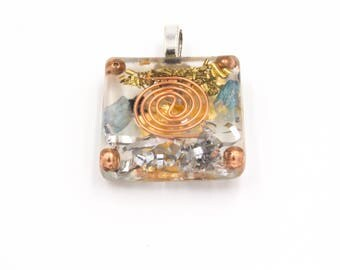 Aura Clearing Metal Resin Brass Coil Pendant for Energy Cleansing Necklace Large Diamond