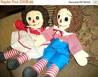 """Raggedy Ann and Andy Dolls Vintage Hand Crafted Soft Sculpture Traditional Boy and Girl 25"""" Toys Embroidered Face Yarn Hair Home Decor"""