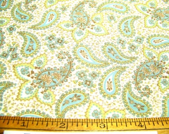 "Vintage 1950's Cotton Fabric PAISLEY Blue Green Brown White 36"" Wide By 36"" Long"