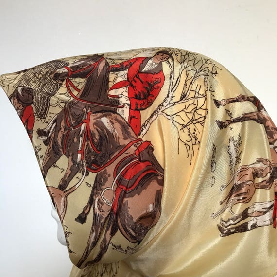 1940s scarf crepe satin square gold yellow 1950s hunting scene horses dogs huntsman accessory headscarf 50s scarf
