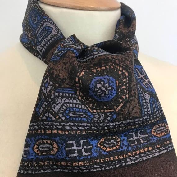 Vintage gents scarf square geometric silky crepe acetate gentlemans cravat menswear scarf brown blue long Mod neckerchief hug hefner paisley