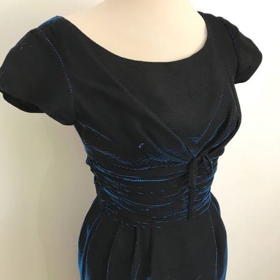 1960s wiggle dress blue chromespun metallic sparkle electric blue late 1950s UK 6 8 party dress pin up frock 50s