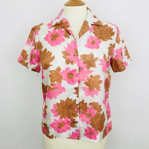 1960s blouse pink floral silky acetate shirt top Mod UK 14 cream 60s blouse short sleeves flowery daisy pyjama collar
