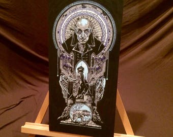 """NOSFERATU  Hand Painted Acrylic Paint on Stretched Canvas 6"""" x 16"""""""
