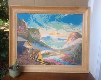 LARGE Vintage Framed Paint By Numbers Grand Canyon Scene, 24""