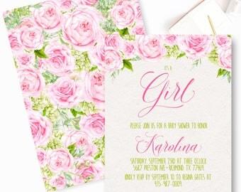 Girl watercolor Baby Shower Invitation, baby shower, Floral baby shower, Girl baby shower invite, Pink Roses Baby Shower Invite