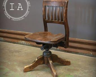 Ordinaire Antique Wooden Bankers Swivel Chair