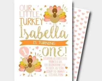 Turkey Birthday Invitation | Thanksgiving Birthday Invitation | Fall Birthday Invitation | Our Little Turkey | Peach and Gold