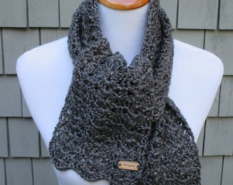 Crochet Grey Scarf, Gray Crochet Scarf, Womens Winter Accessory by CROriginals
