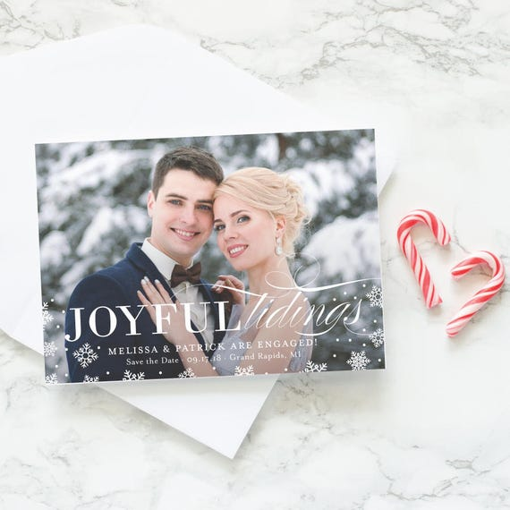Christmas Card Save the Date, Winter Engagement Announcement Holiday Photo Cards, Snowflake Save the Dates - Joyful Tidings