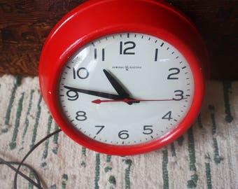 Vintage 1950s General Electric Red Diner Clock
