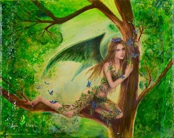 Dreamer -  A Fairy Original Mixed Media Collage, Canvas Art 8x10