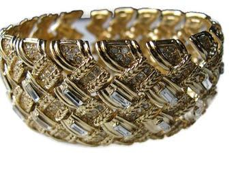 Nina Ricci Wide Rhinestone Bracelet, Gold Basketweave, Bridal Jewelry, Wedding Jewelry, Gift for Bridesmaid, Wide Bracelet, Glam, Designer
