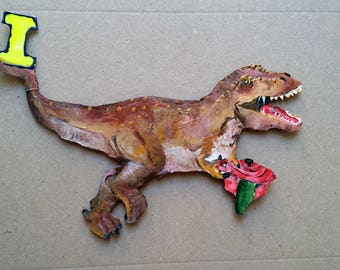 Dinosaur magnet letter I for your fridge