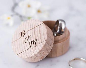 Personalised Calligraphy Ring Box - Wooden Ring Box - Wedding Ring Holder - Ring Pillow - Ring Bearer Box - Proposal Ring Box - Wedding Gif