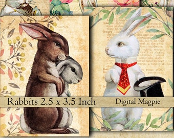 16 Rabbits vintage images collage sheet bunnies instant download atc tags digital scrapbook paper 2.5 x 3.5 jewelry card