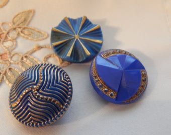 Blue Vintage Buttons with Gold Luster - 3
