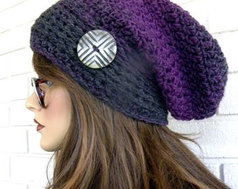 Purple Slouchy Hat, Chunky Winter Hat, Women's Slouchy Hat, Beanie, Hat with Button, Boho Chic, Brown Tweed Stripes, Brown Hat,  Accessories
